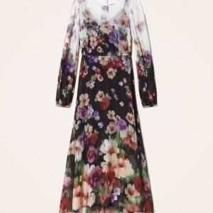 Vestido largo de flores de georgette