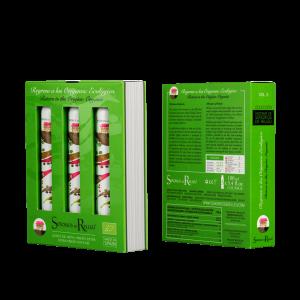"""Aceite de oliva Virgen extra Estuche edición de bolsillo """"Regreso a los orígenes"""" Orgánico(x3 botellas 100 ml)."""