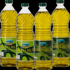 Aceite de Oliva Virgen y Virgen Extra de Almazara. Hacienda del Sol. Pack 4 botellas.