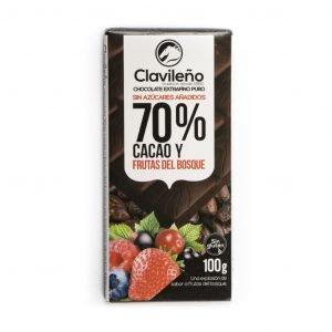 Chocolate negro 70% cacao con frutas del bosque sin azúcares añadidos