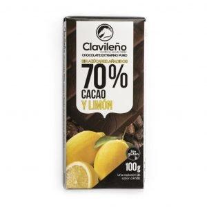 Chocolate negro 70% cacao con limón sin azúcares añadidos