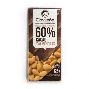 Chocolate extrafino negro 60% con almendras sin azúcares añadidos