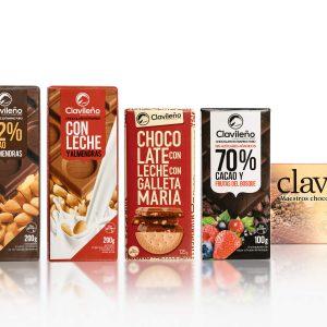 Sweet Pack 4 Tabletas de Chocolates Clavileño Almendras Frutos Rojos