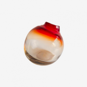 Jarrón Sphere naranja de cristal