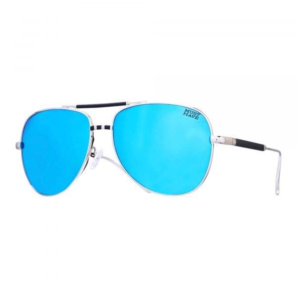 gafas de sol con montura metalizada azul