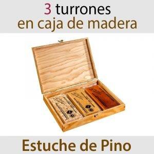Lote de 3 Turrones Artesanos en Estuche de Pino Jijona + Alicante + Yema Tostada