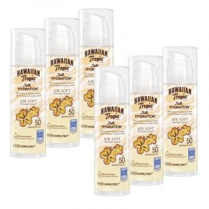Hawaiian tropic silk air soft spf 50 - crema solar ultraligera con lazos de seda, 150 ml. pack 6 uni