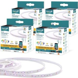 Garza smart home, pack de 4 tiras led wifi 24w ip65, 3 metros rgb