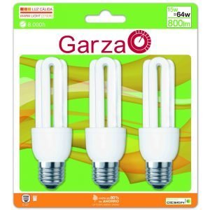 Garza lighting, pack de 3 bombillas ahorro formato stick t3, 15 w