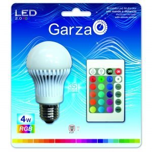 Garza lighting, bombilla multicolor con mando a distancia, led stándar rgb, e27, 4 w