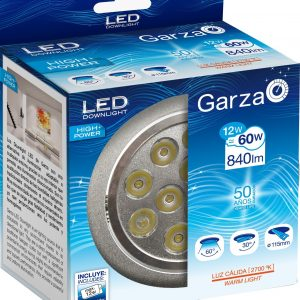 Garza lighting, downlight led empotrable alta potencia 5w 60o 840 lúmenes 27k aluminio luz cálida