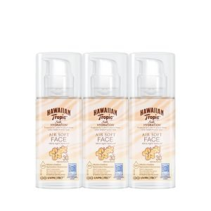 Pack 3 hawaiian tropic silk hydration air soft spf 30 - loción solar protectora facial no grasa resi