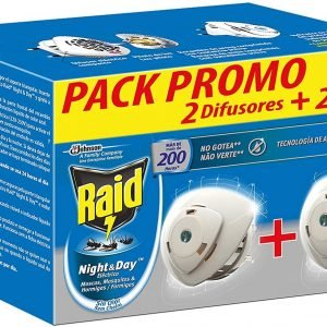 Raid - night & day de sc johnson, anti mosquitos y hormigas eléctrico sin olor, 200 noches, 2 difuso