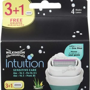 Pack wilkinson sword intuition sensitive kit depilación femenina, pack de 3 + 1 recambios autoadapta