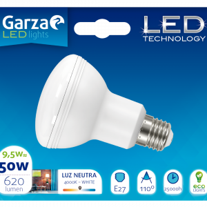 Garza lighting, bombilla led reflectora r63, 9,5 w, e27, 110º, 620 lúmenes, 40k, luz neutra