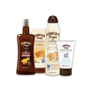 Pack hawaiian tropic, aceite seco bronceador + crema satin ultra radiance + bruma silk hydration air