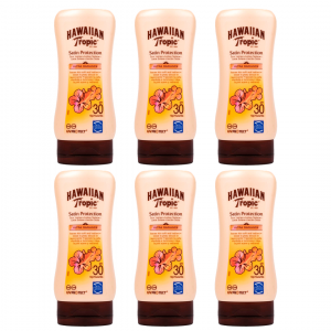 Hawaiian tropic satin protection ultra radiance, loción solar spf 30, fragancia frutas tropicales, 1