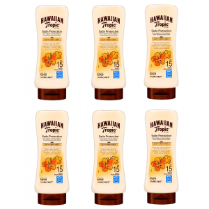 Hawaiian tropic, loción satin protection ultra radiance con fragancia de frutas tropicales spf15, 18