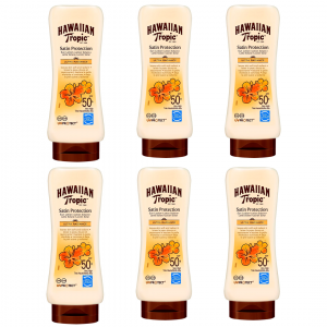 Hawaiian tropic satin protection ultra radiance, spf 50+, fragancia frutas tropicales, 180 ml. pack