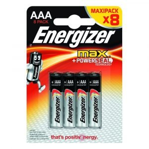 Pack de 8 pilas energizer max power seal aaa, lr03, 1.5 v