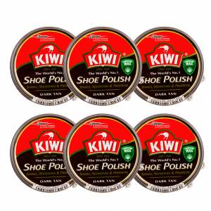 Kiwi de sc johnson, crema en lata para calzado shoe polish marrón oscuro, 50 ml. pack 6 unidades