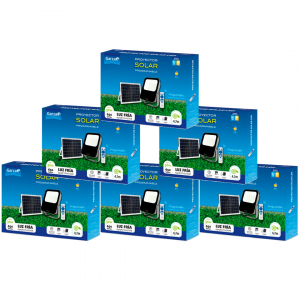 Garza lighting, proyector solar de 30w con mando a distancia, programable y regulable. pack de 6 uni