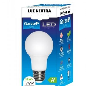 Garza lighting, bombilla led standard 12w, e27, 240º, 1050 lúmenes, 4000 k, luz neutra