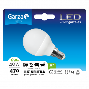 Garza lighting, bombilla led esférica 6w, e14, 220º, 470 lúmenes, 4000 k, luz neutra