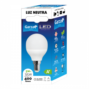 Garza lighting, bombillas led esférica 5w, e14, 220º, 400 lúmenes 4000k, luz neutra