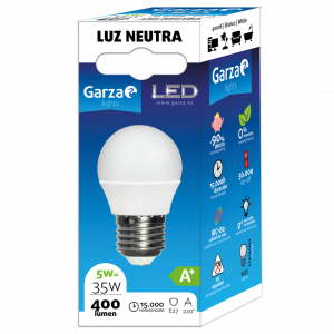 Garza lighting bombilla esférica led 5w e27 400 lúmenes