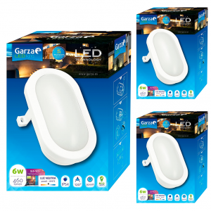 Garza lighting outdoor, plafón led oval exterior, 6w, 120º, 460 lúmenes, ip54 contra agua/polvo, 400