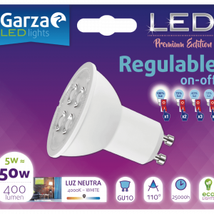 Garza lighting, bombilla led standard regulable on/off 5w e27 luz neutra 440 lúmenes