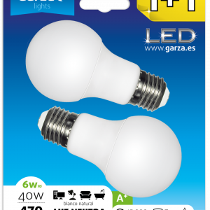 Garza lighting, blister de 2 bombillas led standard, 6w, e27, 240º, 470 lúmenes, luz neutra