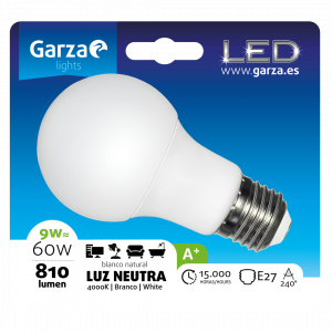 Garza 4u lighting, bombilla led standard 9w, e27, 810 lúmenes, 240º, 4000 k, luz neutra