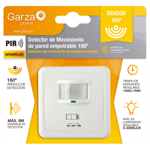 Garza power, detector de movimiento infrarrojos de pared empotrable 160º