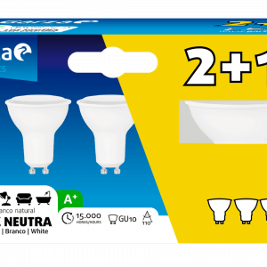 Garza lighting, blister de 3 bombillas led gu10, 5 w, 110º, 400 lúmenes