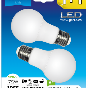 Garza lighting, blister 2 bombillas led standard 12w, e27, 240º, 1060 lúmenes, 4000 k, luz neutra