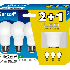 Garza lighting, blister de 3 bombillas led 12w, e27, 240º, 1060 lúmenes, luz neutra