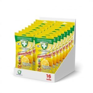 Green shield antibacterial wipes, 50 toallitas superficies que matan 99,9% bacterias y virus. pack d