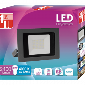 Garza 4u lighting, proyector led exterior ip65 30w 2400 lúmenes y luz neutra 4000 k