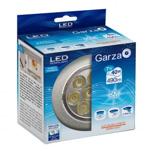 Garza lighting, downlight led empotrable alta potencia 5w 60º 560 lúmenes 27k aluminio luz cálida