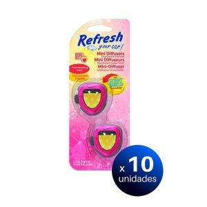 Refresh your car, ambientador mini difusor coche fragancia fresa limón. pack de 10 unidades