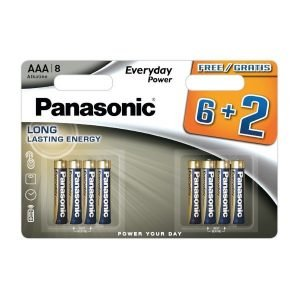 Panasonic everyday power, blister de 8 pilas alkalinas lr03 aaa