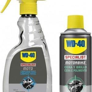 Wd-40 lote moto cera y brillo 400 ml + limpiador total moto 500 ml