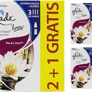 Glade by brise de sc johnson, ambientador un toque aroma relax zen, pack de 3 unidades, 9 recambios