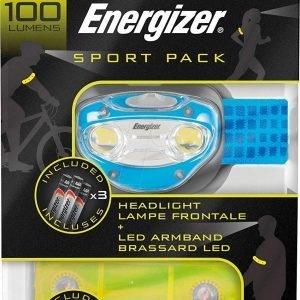 Sport pack de energizer, ciclismo y running, linterna frontal + brazalete led + pilas