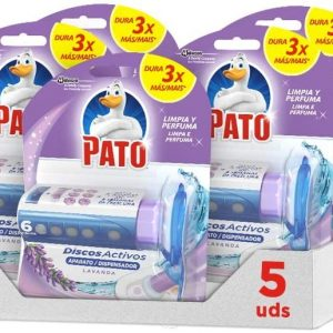 Pato wc de sc johnson, discos activos con aroma lavanda, aplicador y recambio con 6 discos. pack 5