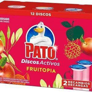Pato® wc de sc johnson, discos activos perfume fruitopia, limpian y desinfectan, pack de 2 recambio