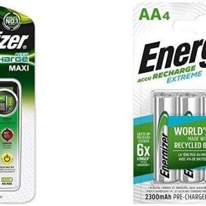 Energizer, cargador de pilas recargables maxi +4hr6 2000 mah. compatible con aa y aaa. incluye 4 pi