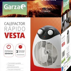 Garza vesta, calefactor termoventilador eléctrico de sobremesa, potencia 2000 w, antivuelco. stock